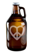 Peace And Love Heart Design Hand-Made Etched Glass Beer Growler 1890ml