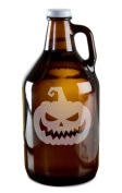 Scary Jack O' Lantern Hand-Made Etched Glass Beer Growler 1890ml