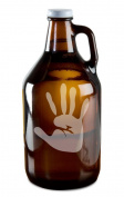 Awesome Hand Print Hand-Made Etched Glass Beer Growler 1890ml