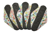 5 Pieces Charcoal Bamboo Mama Cloth/ Menstrual Pads/ Reusable Sanitary Pads (Overnight