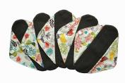 5 Pieces Charcoal Bamboo Mama Cloth/ Menstrual Pads/ Reusable Sanitary Pads (Pantyliner