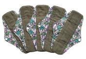 5 Pieces Charcoal Bamboo Mama Cloth/ Menstrual Pads/ Reusable Sanitary Pads (Regular