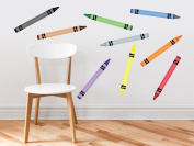 Crayon Fabric Wall Decals - Set Of 9 Colouring Crayons In 9 Different Colours - Removable, Reusable, Respositionable