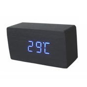 Hrph Wood Office Desk Wooden Digital Alarm Clock