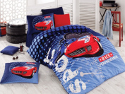 Sport Race %100 Cotton Boy's Race Performance Single Twin Duvet Quilt Cover Set Bedding Linens 3 Pcs