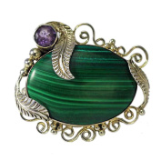 Malachite and Amethyst Leaf Pin and Pendant