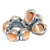 """Solid 925 Sterling Silver """"Two Piece Spacers with Glossy Moonstones"""" Charm Bead (Orange) Fits Pandora Charm Bracelets"""