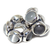 """Solid 925 Sterling Silver """"Two Piece Spacers with Grey Moonstones"""" Charm Bead"""