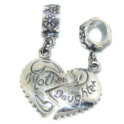 """Solid 925 Sterling Silver """"Two Piece Dangling Mother Daughter Broken Heart"""" Charm Bead 3479"""