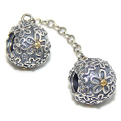 """Solid 925 Sterling Silver """"Two Flower Pattern Balls"""" Safety Chain Charm Bead"""
