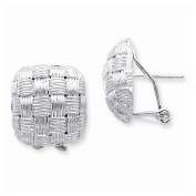 Sterling Silver Square Fancy Omega Back Earrings, Best Quality Free Gift Box