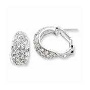 Sterling Silver Cz Omega Back Earrings, Best Quality Free Gift Box