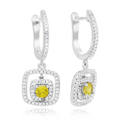 Sterling Silver Rhodium Plated Cubic Zirconia Square Halo Drop and Dangle Earrings