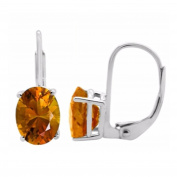 2.40 Ct.Ttw 9x7MM Oval Citrine Leverback Earrings In 14K White Gold