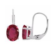 3.25 Ct.Ttw 9x7MM Oval Created Ruby Leverback Earrings In 14K White Gold