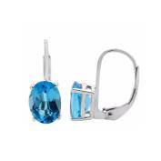 1.95 Ct.Ttw 7x5MM Oval Blue-Topaz Leverback Earrings In 14K White Gold