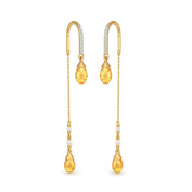 14K Yellow Gold 0.1 cttw White-Diamond (IJ | SI) and Citrine & White Pearl Drop Earrings