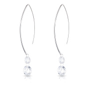 Sterling Silver Hanging Cubic Zirconia Earring - 2 CZ Stones