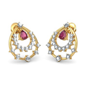 14K Yellow Gold 0.65 cttw White-Diamond (IJ | SI) and Ruby Stud Earrings