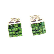 0.75 Ct White Gold Princess Cut Green Diamond Stud Earrings 14 Kt