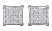 Round Cut Natural White Diamond Square Shape Stud Earrings in 10K Solid Gold