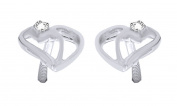 Round Cut Natural White Diamond Stud Earrings in 14k Gold Over Sterling Silver