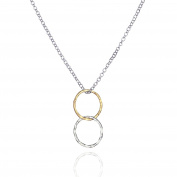Two Tone Infinity Necklace 925 Sterling Silver & 14k Gold Filled Eternity Pendant, 46cm + 10cm Extender