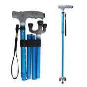 KingGear Travel Adjustable Folding Canes and Walking Sticks for Men and Women - Led Light and Cushion Handle for Arthritis Seniors Disabled and Elderly - Best Mobility Aids Cane
