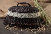 Handmade Decorative Black Bread Basket Woven Of Paper Tubes Trimmed With Lace