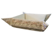 Matzah Plate - Tray - Box - Holder For Passover Bread - Yair Emanuel EMBROIDERED FOLDING BASKET ORIENTAL WHITE