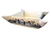 Matzah Plate - Tray - Box - Holder For Passover Bread - Yair Emanuel EMBROIDERED FOLDING BASKET ORIENTAL BLUE