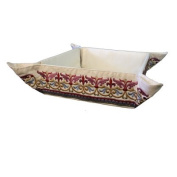 Matzah Plate - Tray - Box - Holder For Passover Bread - Yair Emanuel EMBROIDERED FOLDING BASKET ORIENTAL RED