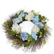 Whispers of Spring Artificial Hydrangea and Angel Hair Vine Wreath for Decorating, Crafting and Displaying