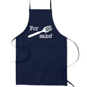 For Fork's Sake Pun Funny Parody Cooking Baking Kitchen Apron - Navy Blue