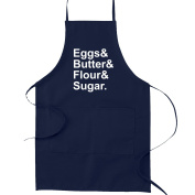 Eggs Butter Flour Sugar Ingredients Funny Parody Cooking Baking Kitchen Apron - Navy Blue