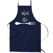 What the Fork Pun Funny Parody Cooking Baking Kitchen Apron - Navy Blue