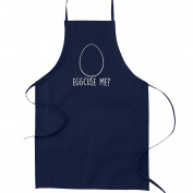 Eggcuse Me Pun Funny Parody Cooking Baking Kitchen Apron - Navy Blue
