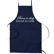 Born to Shop Forced to Cook Funny Parody Cooking Baking Kitchen Apron - Navy Blue