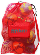Extra Large Heavy Duty Soccer Ball Mesh Bag for Sports, Beach and Swimming Gears. Adjustable Shoulder Strap Made to Fit Adults and Kids. Secure Side Pocket for your Personal Item. 100cm x 80cm