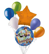 7 pc Toy Story Gang Blue Happy Birthday Balloon Bouquet Party Decoration Disney
