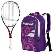 Babolat Pure Aero Junior 70cm French Open Tennis Racquet (Blue/Red/White) bundled with Girl's Club Tennis Backpack