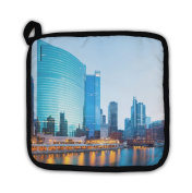 "Gear New 5483464-GN-PH1 ""City of Chicago Downtown & River with Bridges At Dusk"" Pot Holder"