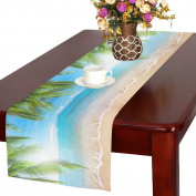 InterestPrint Summer Tropical Beach Palm Tree Long Table Runner 41cm X 180cm , Ocean Coconut Tree Rectangle Tablecloth Placemat for Office Kitchen Dining Wedding Party Home Decor