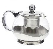 Tea Infuser Pot - Stainless Steel and Glass Teapot With Loose Leaf Tea Infuser, Holds 3-4 Cups by Juvale
