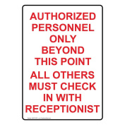 ComplianceSigns Vertical Plastic Authorised Personnel Only Sign, 25cm X 18cm . with English Text, White