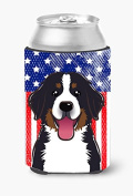 Caroline's Treasures BB2167CC American Flag And Bernese Mountain Dog Can Or Bottle Hugger, Multicolor