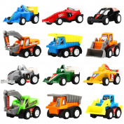 Pull Back Vehicles,12 Pack Assorted Construction Vehicles and Raced Car Toy,Yeonhatoys Die Cast Vehicles Truck Car Toy For Kids Toddlers Boys,Pull Back And Go Car Toy Play Set