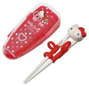 Hello Kitty bear and ribbon with training chopsticks 14cm case