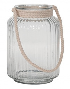 Hill's Imports Decorative Glass/Rope Lantern, Clear, 2.3kg