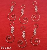 Diamond Swirled Beaded Holiday Ornament Hooks 24 Christmas Decoration Hangers